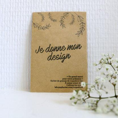 Donner son propre design pour des sachets de graines personnalisés en cadeau d'invités pour mariage