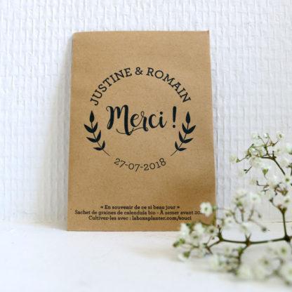 Sachet de graines bio personnalisé pour remercier ses invités pour son mariage