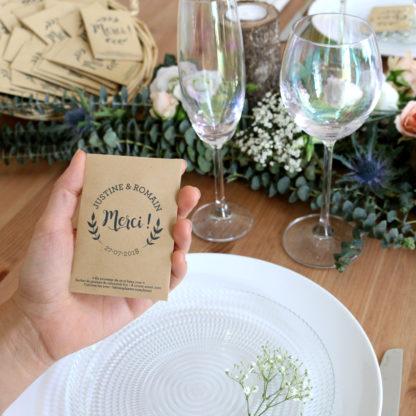 Sachet de graines personnalisé pour décorer sa table de mariage