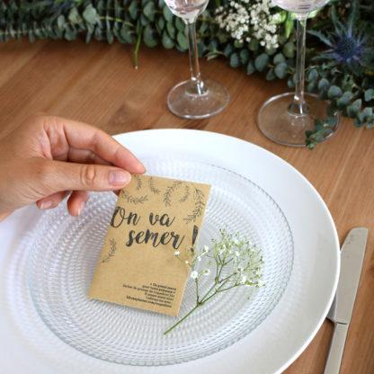 Sachet de graines personnalisé en cadeau d'invités pour un mariage